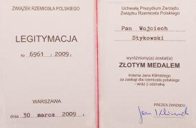 Złoty medal im. Jana Kilińskiego dla Wojciecha Stykowskiego za zasługi  dla Rzemiosła Polskiego
